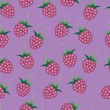 Teste padrão sem emenda do vetor com as framboesas cor-de-rosa brilhantes Fotos de Stock Royalty Free