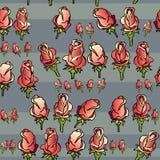 Teste padrão sem emenda do vetor com as rosas no cinza Imagens de Stock Royalty Free