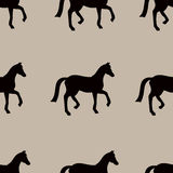 Teste padrão sem emenda do vetor com as silhuetas pretas dos cavalos Imagem de Stock Royalty Free