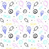 Teste padrão sem emenda do vetor com balões e os doces diferentes ilustração royalty free