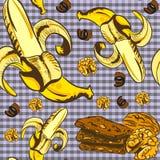 Teste padrão sem emenda do vetor com bananas e chocolate Foto de Stock Royalty Free
