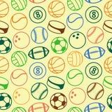Teste padrão sem emenda do vetor com bolas do esporte Foto de Stock