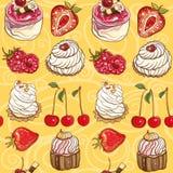 Teste padrão sem emenda do vetor com bolos e bagas Fotos de Stock Royalty Free