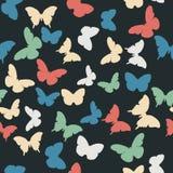 Teste padrão sem emenda do vetor com borboletas aleatórias Fotos de Stock