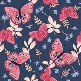Teste padrão sem emenda do vetor com borboletas brilhantes Projeto tirado mão da textura Fotos de Stock Royalty Free