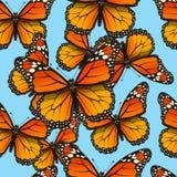 Teste padrão sem emenda do vetor com borboletas Fundo na moda do verão para a tela, tampa, roupa Fotografia de Stock Royalty Free