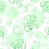 Teste padrão sem emenda do vetor com brócolis Foto de Stock Royalty Free