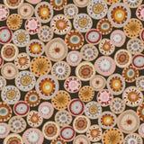 Teste padrão sem emenda do vetor com círculo da garatuja Ornamento geométrico da malha círculos feitos malha, estilo da hippie, l imagem de stock