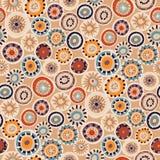 Teste padrão sem emenda do vetor com círculo da garatuja Ornamento geométrico da malha círculos feitos malha, estilo da hippie, l foto de stock royalty free