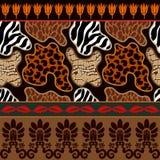 Teste padrão sem emenda do vetor com cópias do animal e os ornamento geométricos antigos Foto de Stock Royalty Free