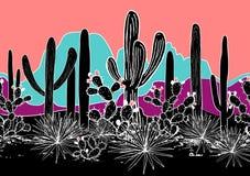Teste padrão sem emenda do vetor com cactos, e montanhas Floresta selvagem do cacto com agave, saguaro, e a pera espinhosa brilha ilustração stock