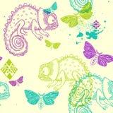 Teste padrão sem emenda do vetor com camaleão e borboletas Fotos de Stock