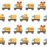 Teste padrão sem emenda do vetor com caminhões do brinquedo Imagens de Stock Royalty Free