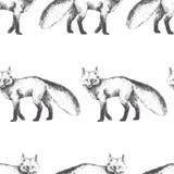 Teste padrão sem emenda do vetor com caráter animal bonito Mão desenhada Foto de Stock Royalty Free