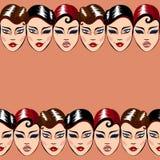 Teste padrão sem emenda do vetor com caras da mulher Imagens de Stock Royalty Free