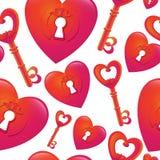 Teste padrão sem emenda do vetor com chave e coração Fotos de Stock