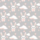 Teste padrão sem emenda do vetor com coelho branco do coelho doce e bonito, nuvens, corações cor-de-rosa ilustração royalty free