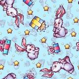 Teste padrão sem emenda do vetor com coelhos dos desenhos animados e Imagens de Stock