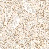 Teste padrão sem emenda do vetor com conchas do mar e estrela do mar ilustração do vetor