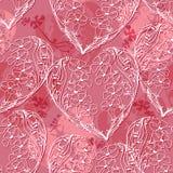 Teste padrão sem emenda do vetor com coração floral da garatuja Fotos de Stock Royalty Free