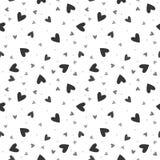Teste padrão sem emenda do vetor com corações caóticos Foto de Stock
