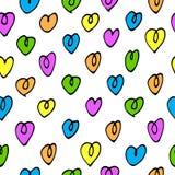 Teste padrão sem emenda do vetor com corações coloridos Fotografia de Stock Royalty Free