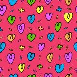 Teste padrão sem emenda do vetor com corações coloridos Imagem de Stock Royalty Free