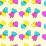 Teste padrão sem emenda do vetor com corações coloridos dos doces Imagens de Stock