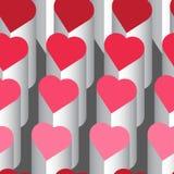 Teste padrão sem emenda do vetor com corações cor-de-rosa Fotografia de Stock
