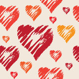 Teste padrão sem emenda do vetor com corações tirados mão Foto de Stock