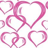 Teste padrão sem emenda do vetor com corações tirados mão Fundo do dia de StValentine s Imagens de Stock Royalty Free