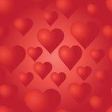 Teste padrão sem emenda do vetor com corações vermelhos Fundo brilhante Imagens de Stock