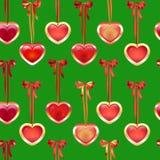 Teste padrão sem emenda do vetor com curvas e corações Imagem de Stock Royalty Free