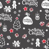 Teste padrão sem emenda do vetor com decorações do feriado Foto de Stock Royalty Free