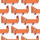Teste padrão sem emenda do vetor com desenhos animados bonitos foxes3 ilustração do vetor