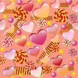 Teste padrão sem emenda do vetor com doces e pirulitos Fotos de Stock Royalty Free