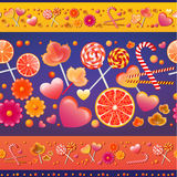 Teste padrão sem emenda do vetor com doces e pirulitos Imagens de Stock Royalty Free