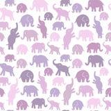 Teste padrão sem emenda do vetor com elefantes Imagens de Stock
