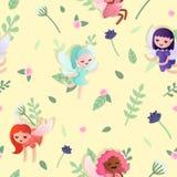 Teste padrão sem emenda do vetor com fadas pequenas bonitas do bebê no fundo amarelo com flores e folhas imagem de stock royalty free