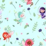 Teste padrão sem emenda do vetor com fadas pequenas bonitas do bebê no fundo azul com flores e folhas imagens de stock