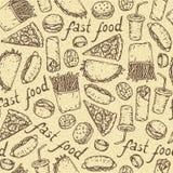 Teste padrão sem emenda do vetor com fast food Foto de Stock