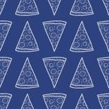 Teste padrão sem emenda do vetor com fatias de pizza Fotografia de Stock