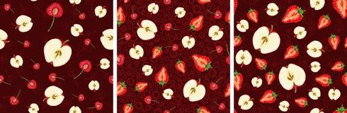 Teste padrão sem emenda do vetor com fatias do fruto ilustração do vetor