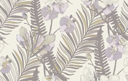 Teste padrão sem emenda do vetor com flores e as folhas tiradas Imagens de Stock Royalty Free