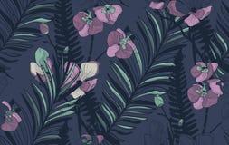 Teste padrão sem emenda do vetor com flores e as folhas tiradas Fotos de Stock Royalty Free