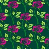 Teste padrão sem emenda do vetor com flores e plantas Imagens de Stock Royalty Free