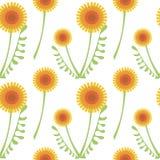 Teste padrão sem emenda do vetor com flores Fundo com dentes-de-leão e as folhas alaranjados no contexto branco Imagem de Stock Royalty Free