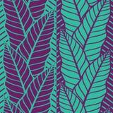 Teste padrão sem emenda do vetor com folhas tropicais Imagens de Stock Royalty Free