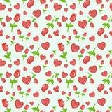 Teste padrão sem emenda do vetor com fundo cor-de-rosa do branco das tulipas Fundo sem emenda floral para o vestido, fabricação,  Fotografia de Stock Royalty Free