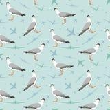 Teste padrão sem emenda do vetor com gaivota e plano Fotografia de Stock Royalty Free
